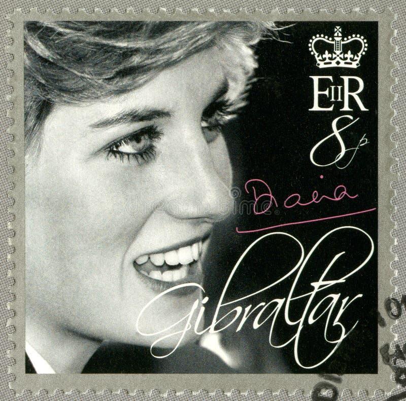 GIBRALTAR - 2007: przedstawienia Diana, księżnej walii uznanie (1981-1997) zdjęcia royalty free