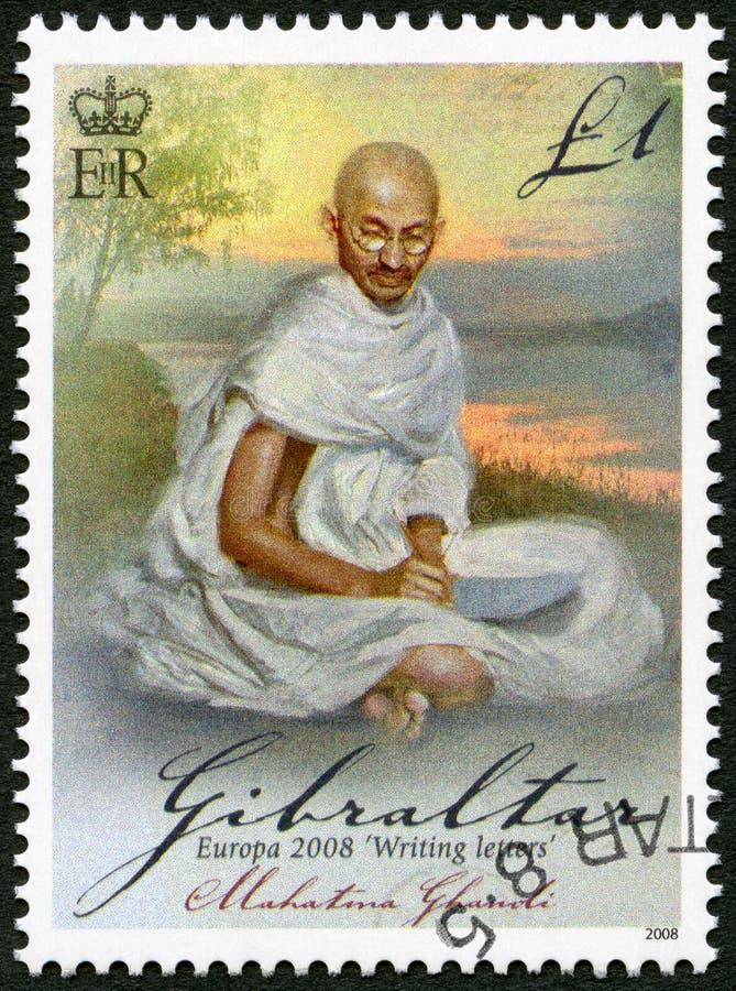 GIBRALTAR - 2008: przedstawienia Mohandas Karamchand Gandhi, serii Europa listu writing (1869-1948) zdjęcie stock