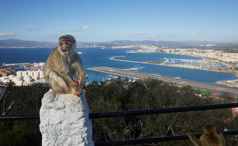 Gibraltar punkter av intresse i det brittiska utländska området på det sydligt som spottas av Iberiska halvön, fotografering för bildbyråer