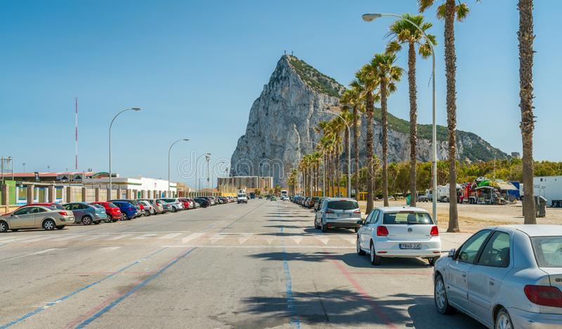 Gibraltar rock as seen from La Linea de la Concepcion, in Spain. stock photo