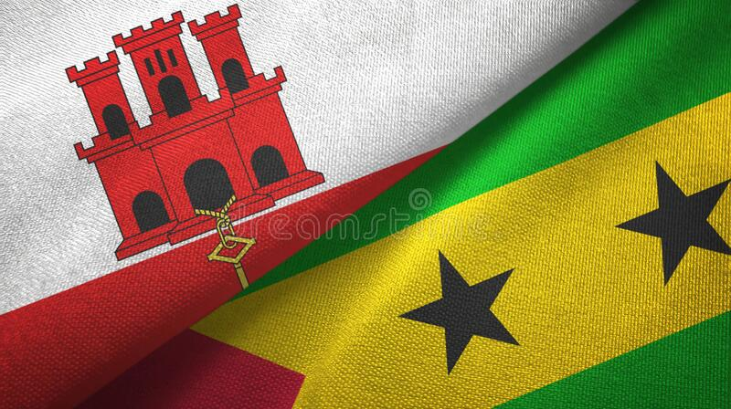 Gibraltar and Sao Tome and Principe two flags textile cloth, fabric texture. Gibraltar and Sao Tome and Principe two folded flags together royalty free illustration