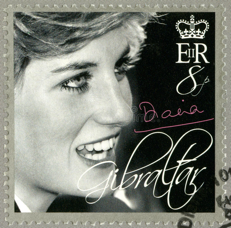 GIBRALTAR - 2007 : shows Diana (1981-1997), Princess of Wales Tribute royalty free stock photos