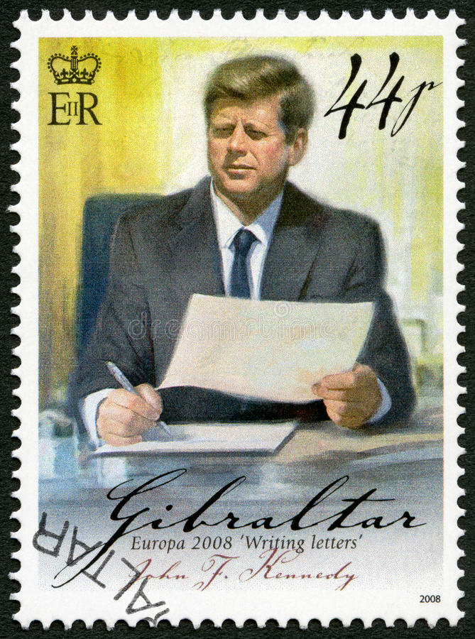 GIBRALTAR - 2008: shows of John F. Kennedy (1917-1963), series Europa letter writing. GIBRALTAR - CIRCA 2008: A stamp printed in Gibraltar shows of John F royalty free stock photo