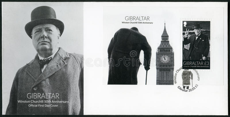 GIBRALTAR - 2015: shows Sir Winston Spencer Churchill 1874-1965, 50th anniversary, politician. GIBRALTAR - CIRCA 2015: A stamp printed in Gibraltar shows Sir royalty free stock photos