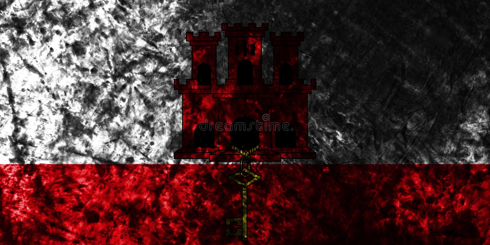 Gibraltar grunge flag on old dirty wall, British Overseas Territories, Britain dependent territory flag stock illustration