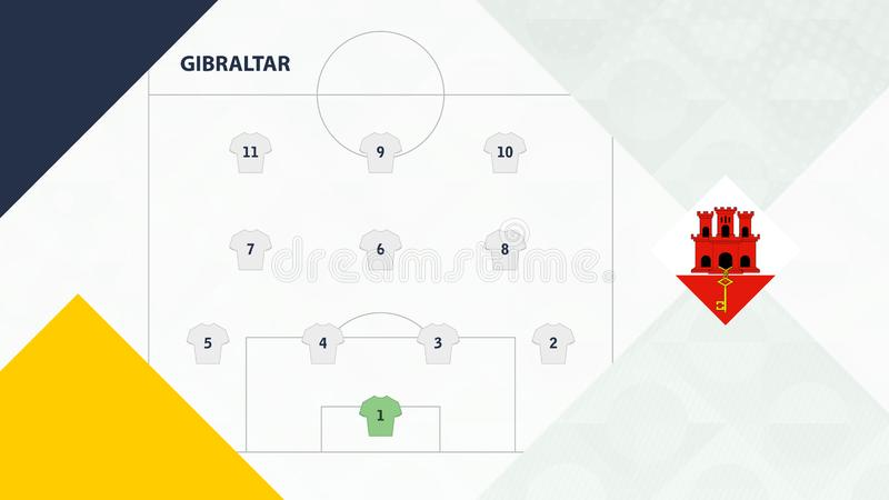 Gibraltar team preferred system formation 4-3-3, Gibraltar football team background for European soccer competition.  stock illustration