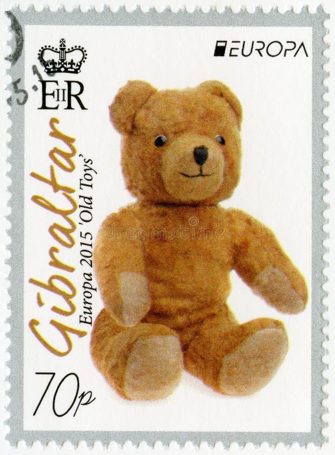 GIBRALTAR - 2015: visar nallebjörnen en mjuk leksak, gamla leksaker för serieEuropa fotografering för bildbyråer