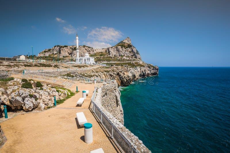 Gibraltar zoals die van Europa Punt wordt gezien royalty-vrije stock foto's