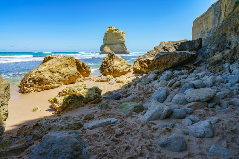 Gibson steps, twelve apostles marine national park, great ocean road, australia 15. Steep coast and monoliths at gibson steps, twelve apostles marine national royalty free stock images