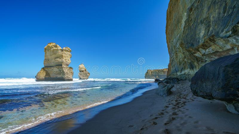 Gibson steps, twelve apostles marine national park, great ocean road, australia 42. Steep coast and monoliths at gibson steps, twelve apostles marine national royalty free stock photography