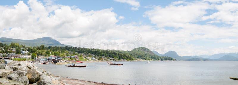Gibsons港口,不列颠哥伦比亚省看法阳光海岸的 库存照片