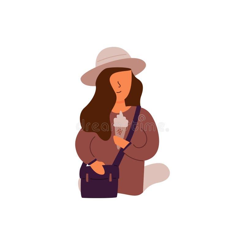 Gick den plana flickan för vektorn i hatt och påse på en tur stock illustrationer