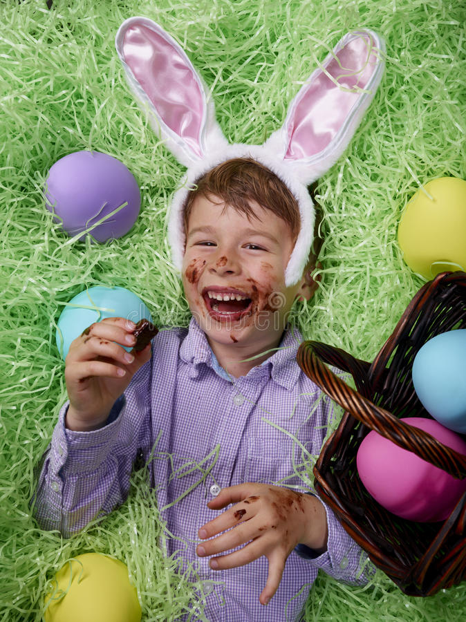 Giddy on Easter Chocolate royalty free stock photos