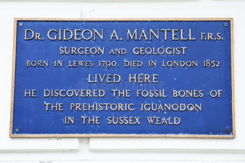 Gideon A Mantell plakieta w Lewes obraz royalty free