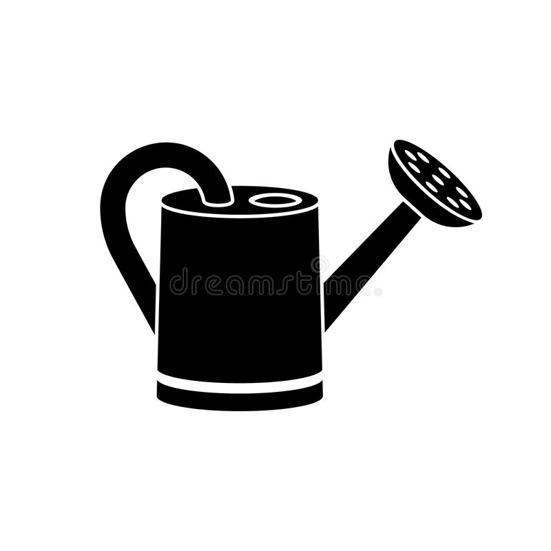 Gießkanne, schwarze Schattenbildikone lizenzfreie abbildung