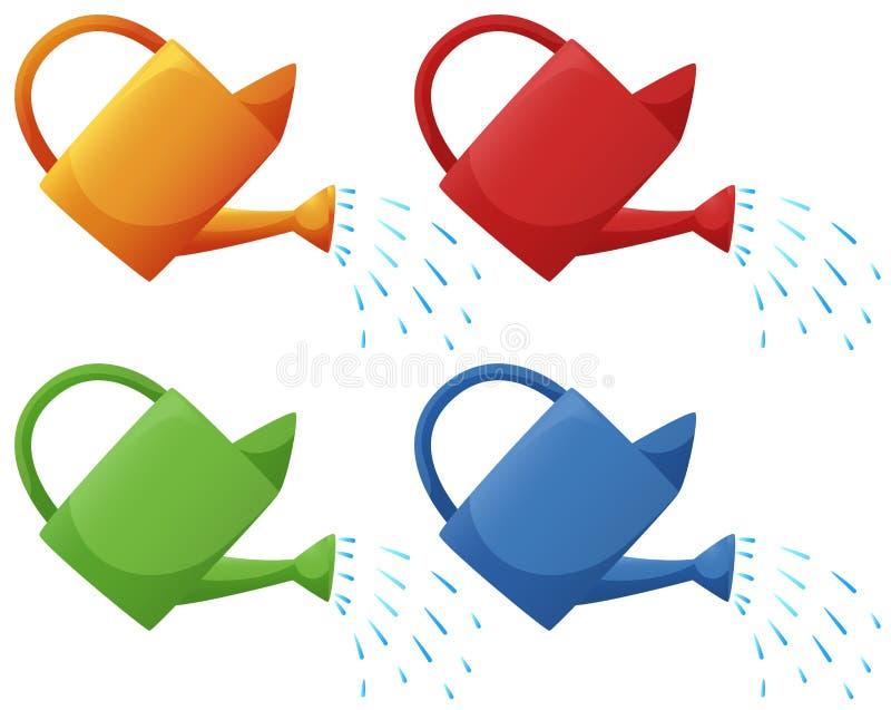 Gießkannen in vier Farben lizenzfreie abbildung