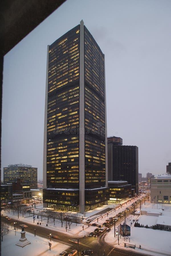 Giełda Papierów Wartościowych basztowy w centrum Montreal obrazy royalty free