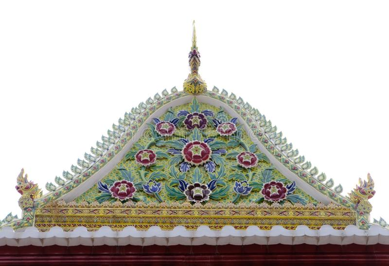 Giebel der thailändischen königlichen Klassifikation Hall von Nonthaburi stockfoto