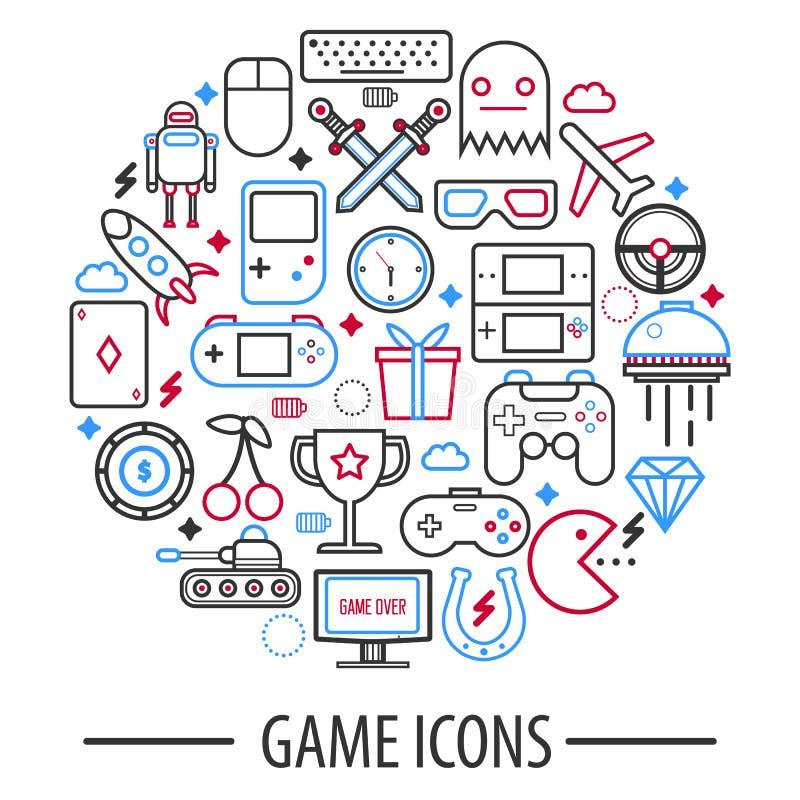 Gier komputerowych ikony w round okręgu wektorowej ilustraci odizolowywającej ilustracja wektor
