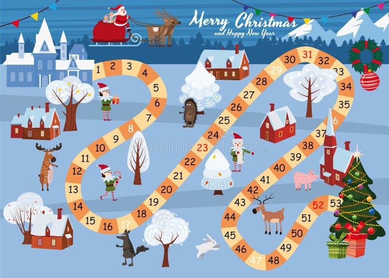 Gier planszowych Wesoło boże narodzenia i Szczęśliwy nowy rok Święty Mikołaj w saniu na Magicznych rogaczach jedzie przez zimy ilustracja wektor