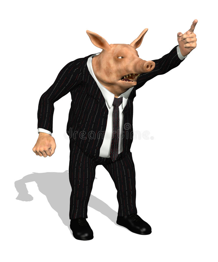 Gieriges forderndes Geschäfts-Schwein stock abbildung