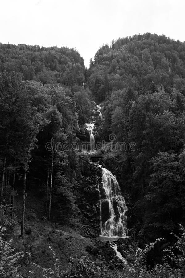 Giessbach waterfalls, Switzerland Black and White photograph stock images