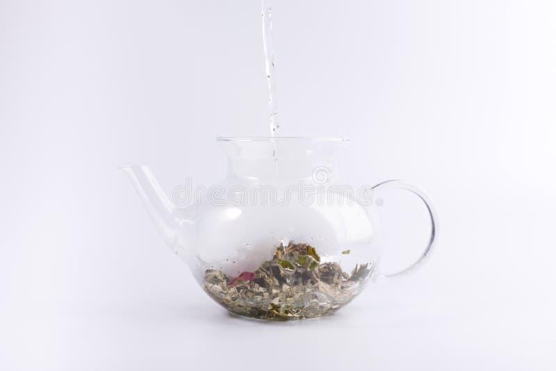 Gietend warm water aan de glastheepot met aftreksel, dat op wit wordt geïsoleerd royalty-vrije stock afbeeldingen