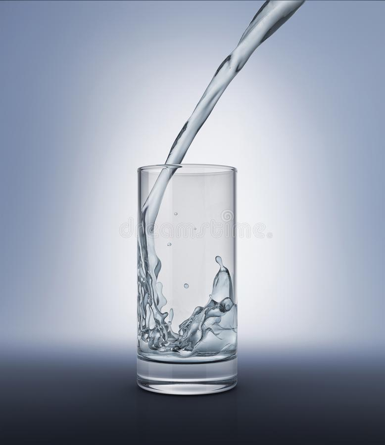 Gietend water in een glas met binnen plons royalty-vrije illustratie