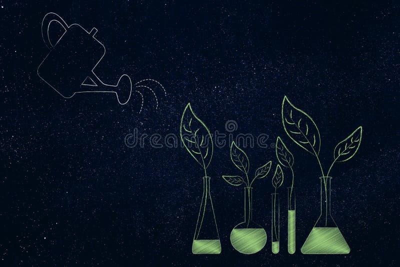 Gieter die de groei van bladeren helpen uit laboratoriumfiool bottl stock illustratie