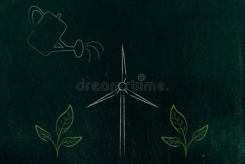 Gieter die de groei van installaties en één windturbine p helpen royalty-vrije illustratie