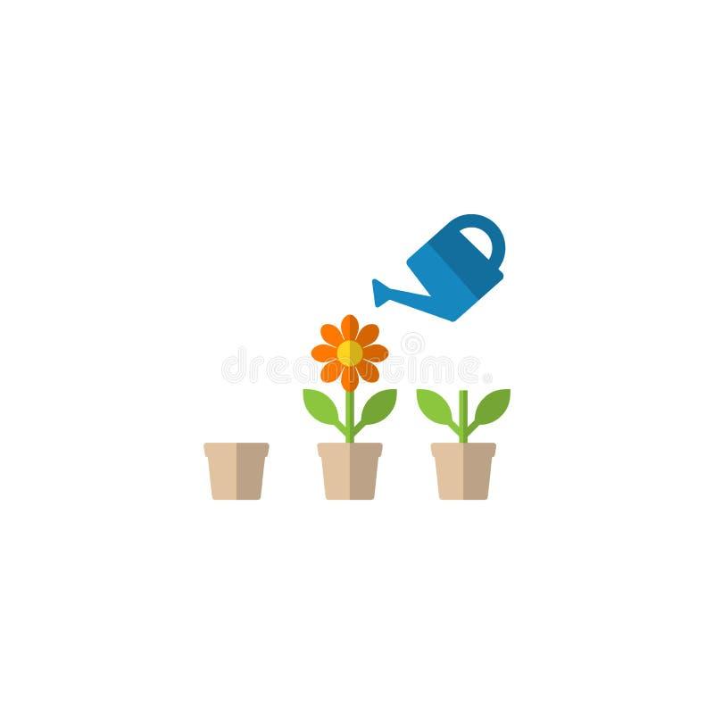 Gieter en bloempot in het kweken van stadia vectorbeeldverhaal clipart stock illustratie