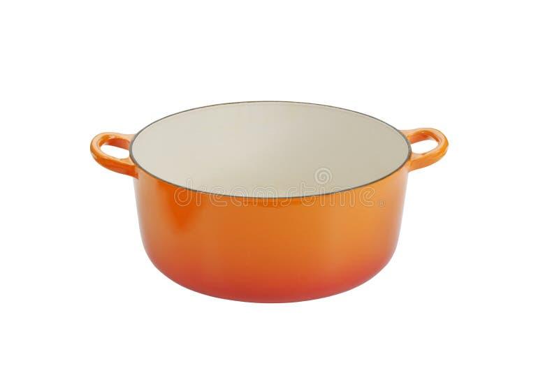 Gietijzer kokende pot. stock afbeeldingen