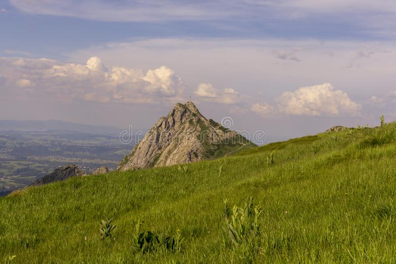 Giewont peak on the background of Zakopane. Tatra Mountains. Poland.  royalty free stock image