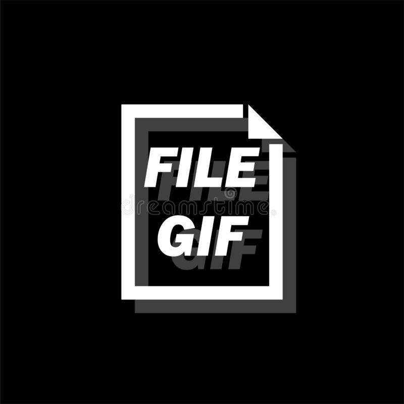 GIF File icon flat. GIF File. White flat simple icon with shadow royalty free illustration