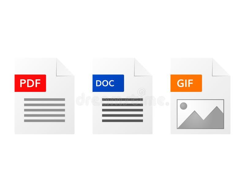 Gif pdf i doc kartoteki formata ikony set ilustracji