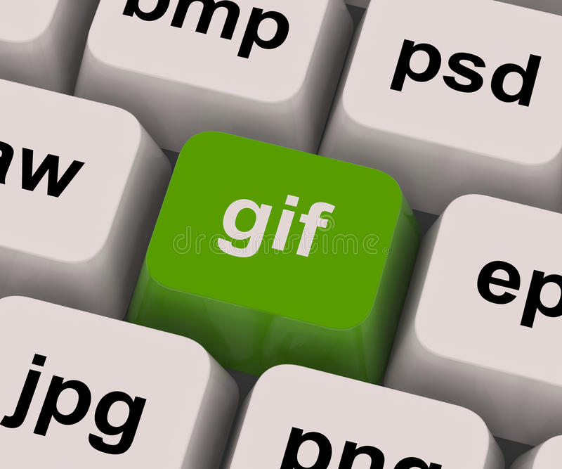 GIF-Schlüssel zeigt Bild-Format für Internet-Bilder lizenzfreie stockbilder