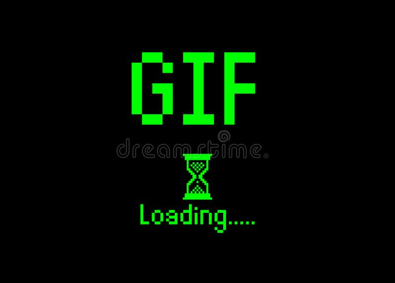 GIF sign with loading icon pixel art bitmap style. Progress bar almost reaching Play animation icon for social networks . Green vector illustration
