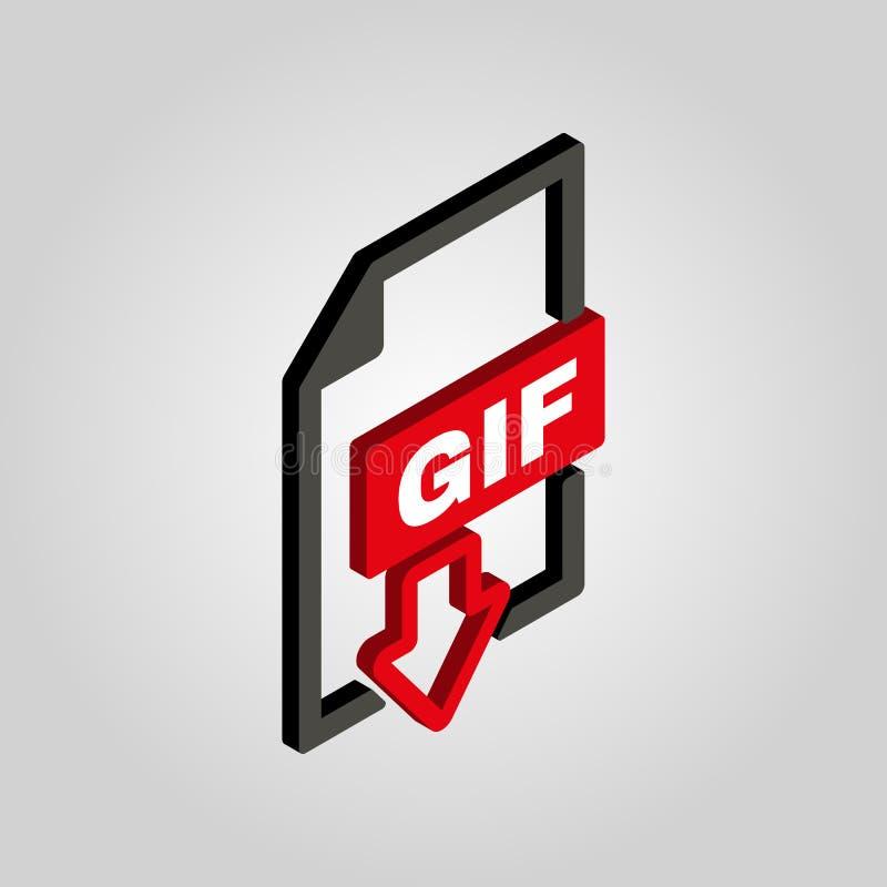 Gif-symbolen isometriskt symbol för format för mapp 3D Plan vektor royaltyfri illustrationer