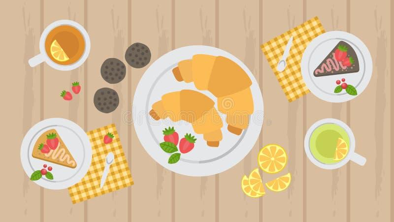 Giffel, kaka och kakor på tabellen med te, tebjudning royaltyfri illustrationer
