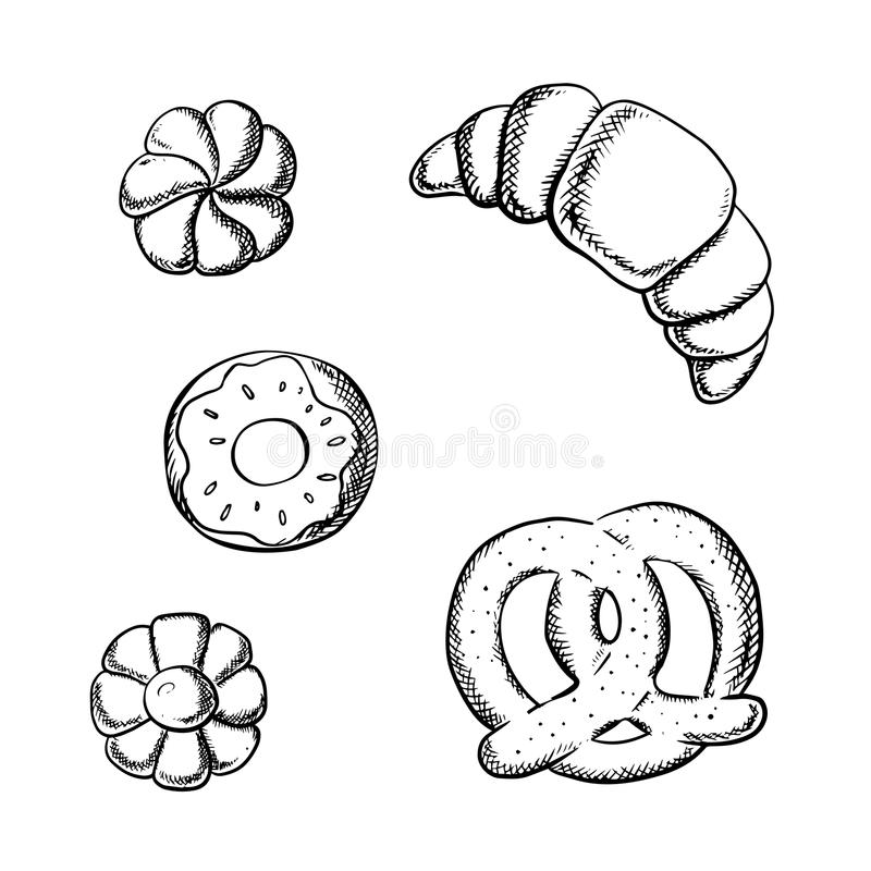 Giffel-, kringla-, munk- och sockerkakor royaltyfri illustrationer