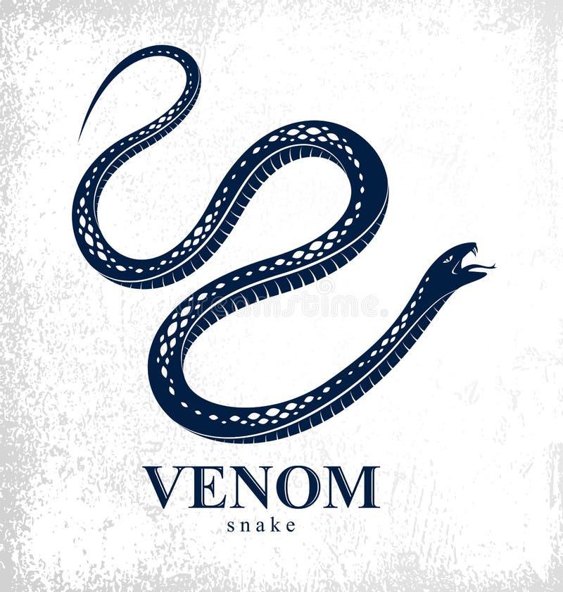 Gifslang uitstekende tatoegering, vectorembleem of embleem van agressief roofdier reptiel, dodelijk vergiftigd serpentsymbool, ui royalty-vrije illustratie