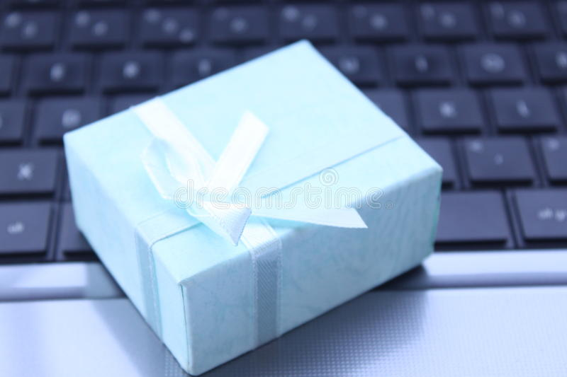 Download Gift on the laptop stock image. Image of gift, industries - 27849111
