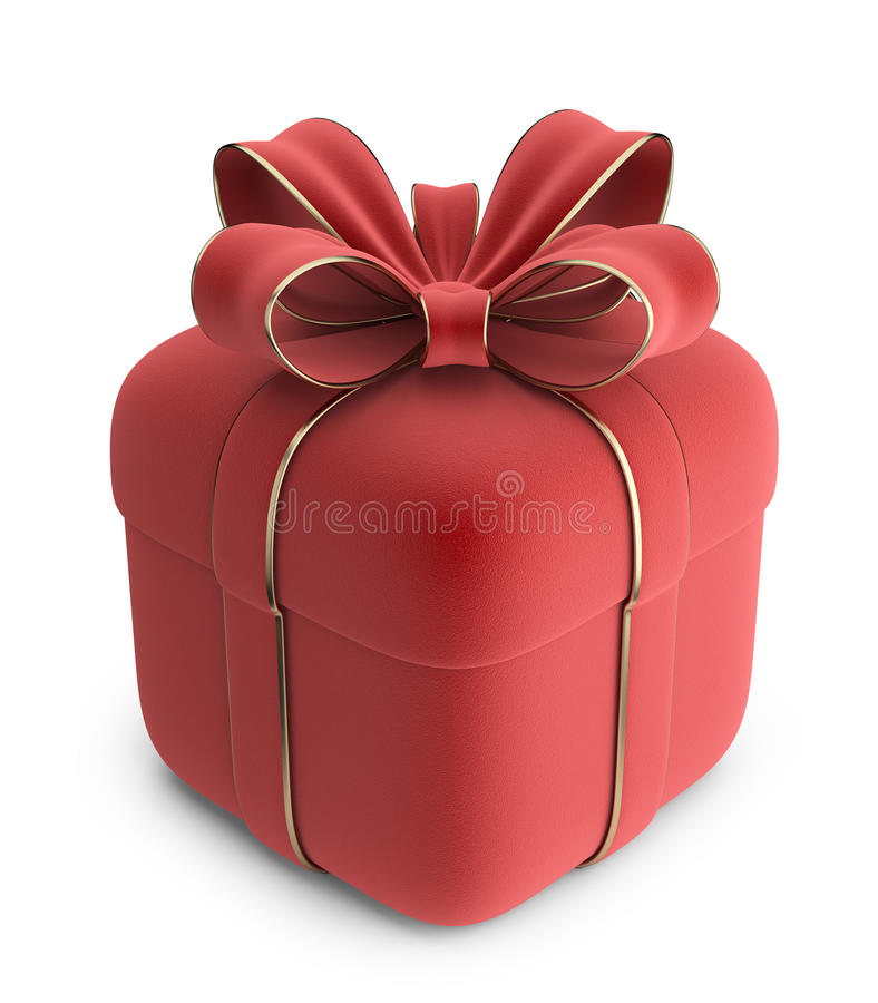 Free Gift 3D. Red Box With Bow. Stock Images - 28033434