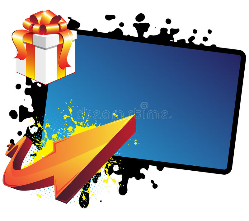 Gift, arrow and banner stock illustration