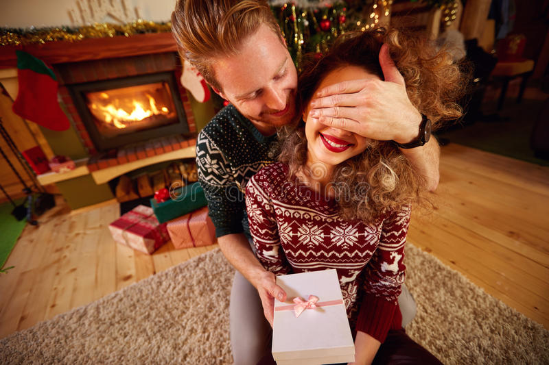 Gift as Christmas surprise royalty free stock photo