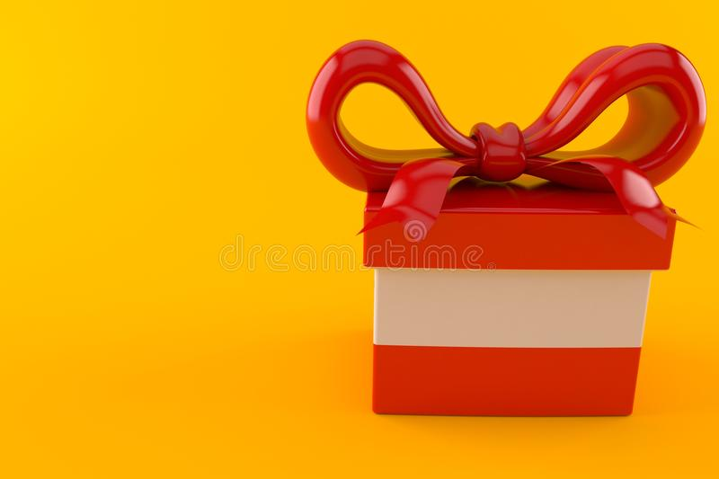 Gift with austrian flag. Isolated on orange background. 3d illustration royalty free illustration