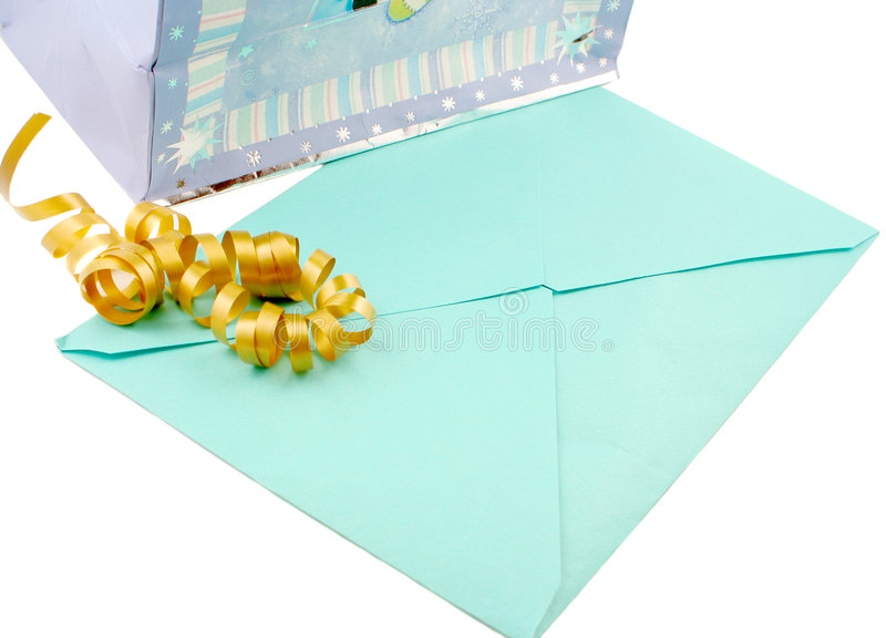Gift bag. And unopened greeting card with ribbon royalty free stock images