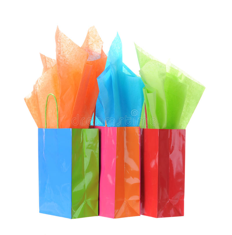 Gift bag. S and tissue isolated on white stock photos