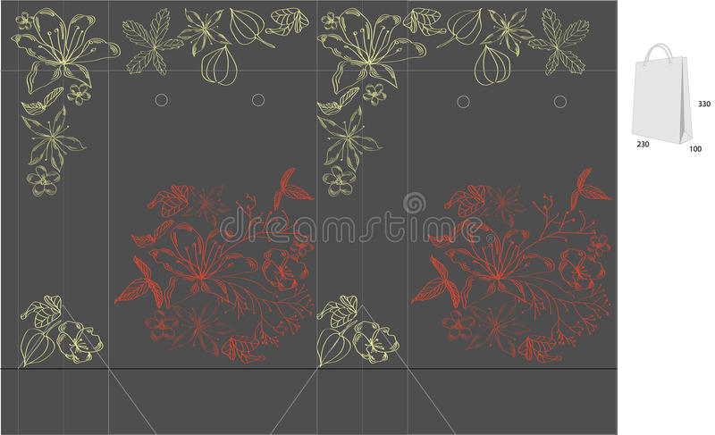Gift Bag With Die Cut ( Flowers) Royalty Free Stock Photo