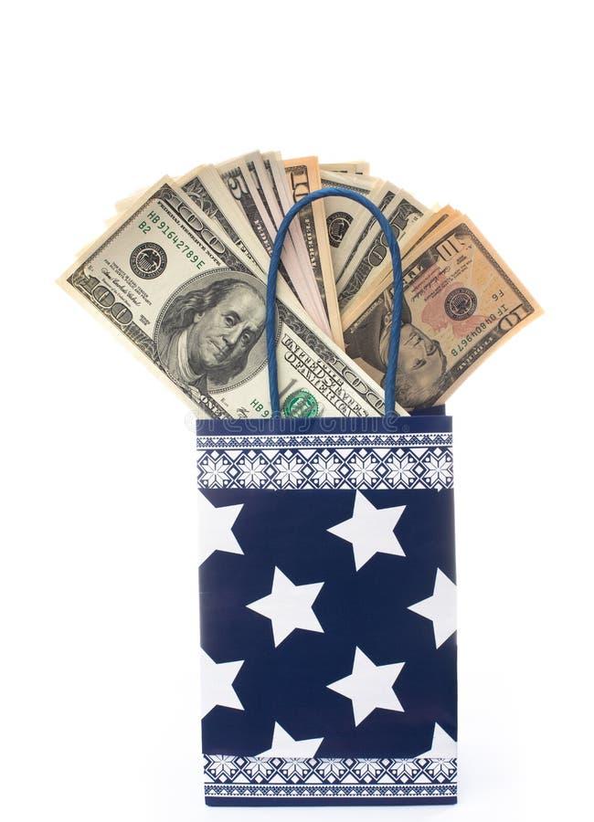 Gift bag with dollars stock photos